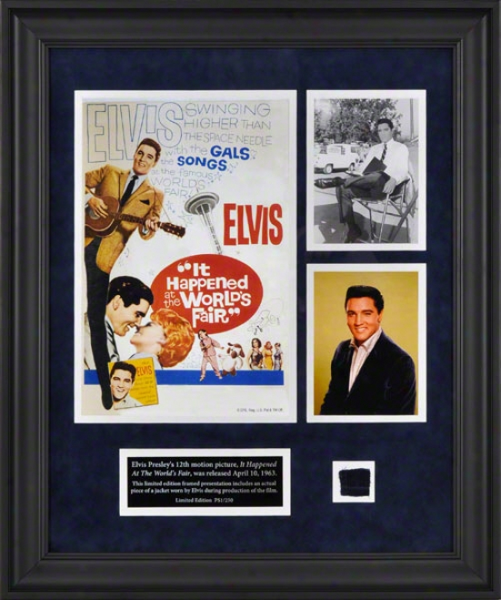 Elvis Presley Framed Presentation  Details: Worlf's Fair Collage, WithU sed Suit Piece