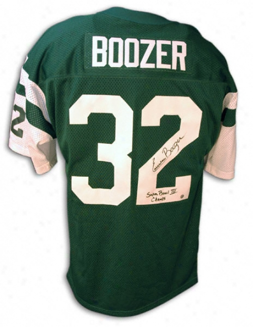 Emerson Boozer Autographed Green Throwback Jersey With ''sb Iii Champs'' Inscription