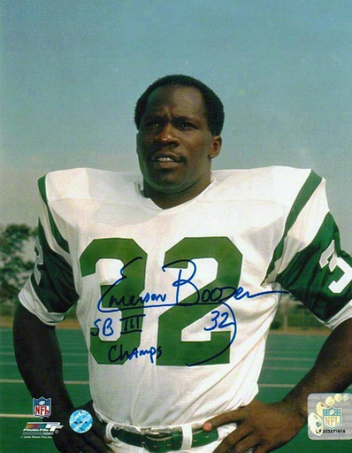 Emerson Boozer Autographed New York Jets 8x10 Photo Inscribed &quotsb Iii Champs&quuot