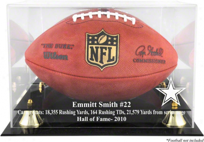 Emmitt Smith Dallas Cowboys 2010 Hall Of Fame Golden Classic Football Case And Mirror Back