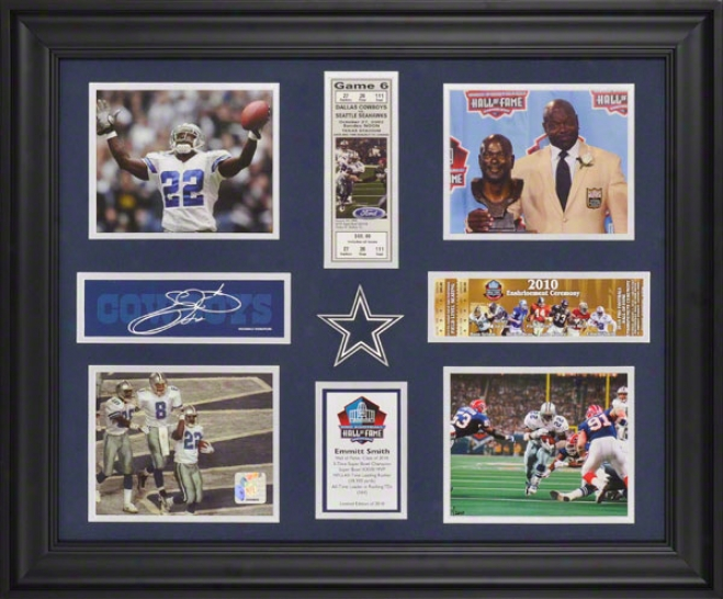 Emmitt Smith Dallas Cowboys Framed Photographs With Ticket, Descriptive Lamina And Facsimile Signature - Limited Edition Of 2010