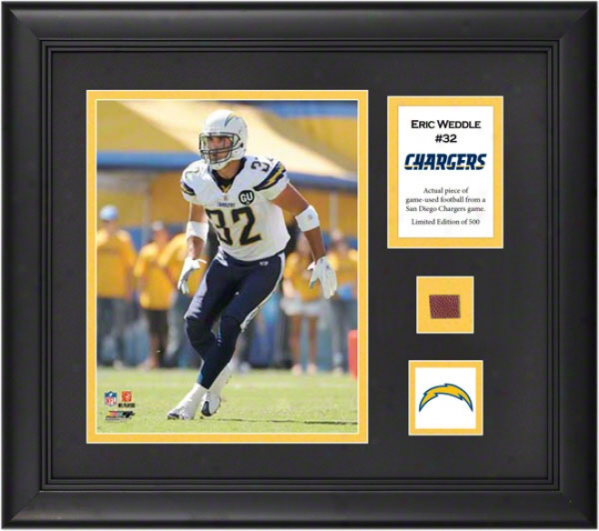Eric Wedfle Framed 8x10 Photograph  Details: San Diego Chargers, With Game Used Football Piece And Descriptive Plate