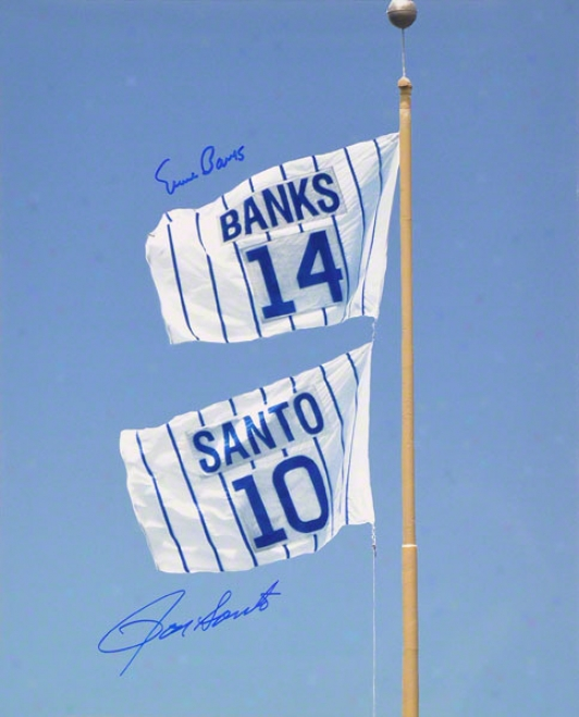 Ernie Banks Anf Rom Santo Chicago Cubs Auutographed 16x20 Retired Number Flag Photo