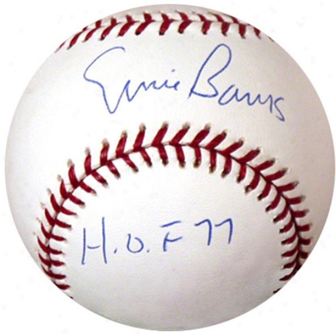 Ernie Banks Autographed Baseball  Details: Chicago Cubs, Hof 77 Inscroption