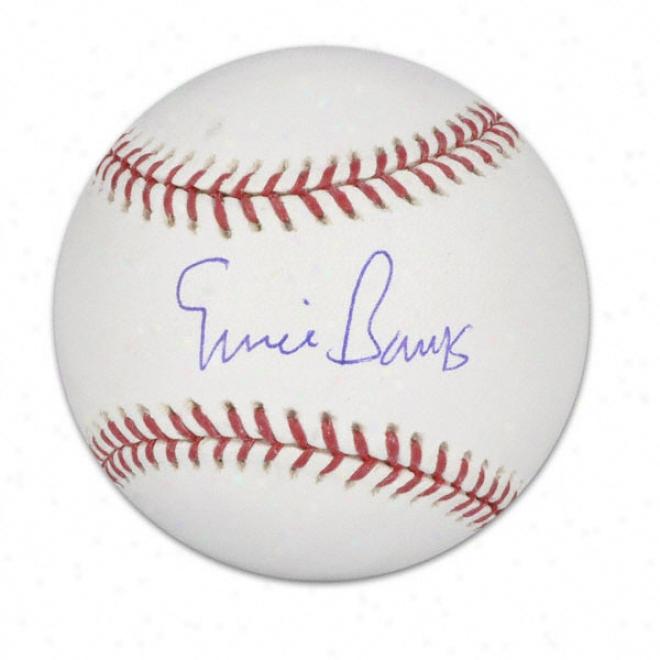 Ernie Banks Autogralhed Baseball