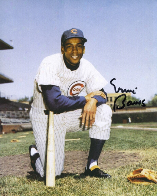 Ernie Banks Chicago Cubs 8x10 Autographed Cardboard Photograph