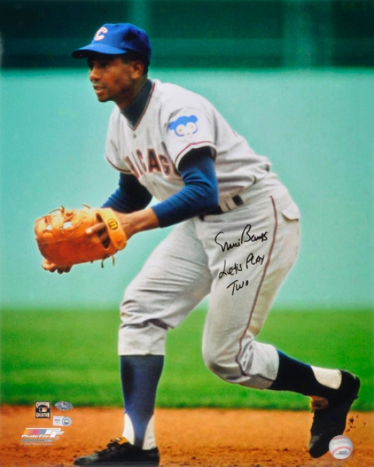 Ernie Bwnks Chicago Cubs Autographed 16x20 Fielding Photo W/ Inscription &quotlets Play Two&quot