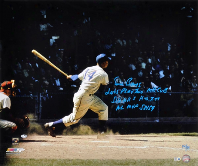 Ernie Banks Chicago Cubs Autographed 20x24 Hitting Photo W/ 5 Inscriptions