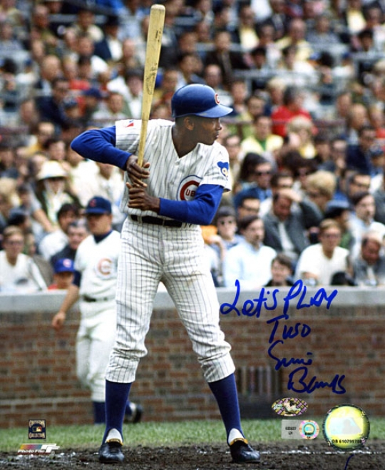 Ernie Banks Chicago Cubs Autograpjed 8x10 Photo W/ Inscription &quotlets Play Two&quot