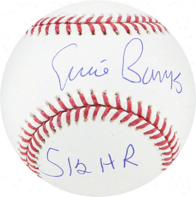 Ernie Banks Chicago Cubs Autographed Baseball W/ Inscription &quot512 Hrs&quot