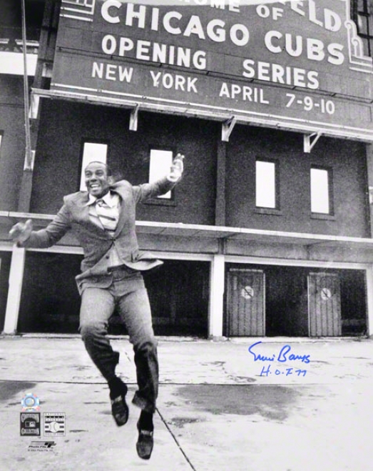 Erni Banks Chicago Cubs - Celebration At Wrigley Field - Autographed 16x20 Photo W/ Hof 77 Inscription