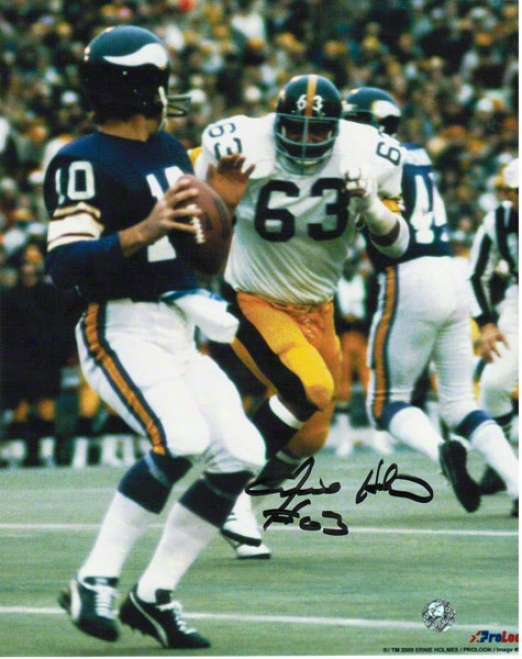 Ernie Holmes Pittsburgh Steelers Autographhed 8x10 Photo Rushing Tarkenton