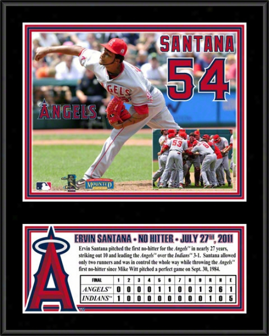 Ervin Santana Sublimaged 12x15 Plaque  Details: Los Angeles Angels Of Anaheim, No Hitter