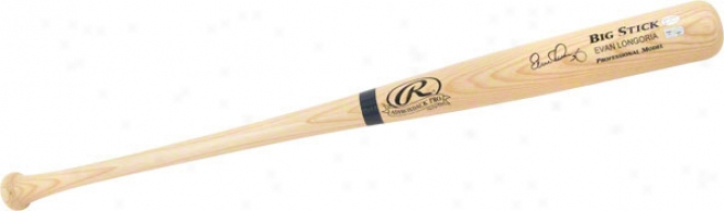 Evan Longoria Autographed Bat  Details: Blonds, Big Attach, Name Engraved