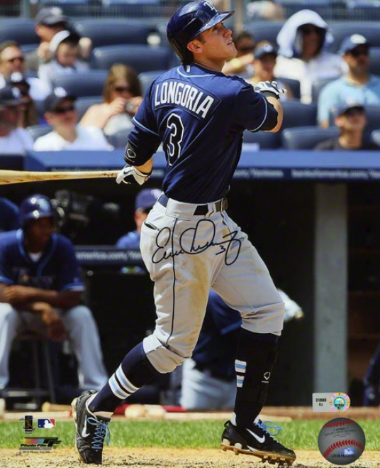 Evan Longoria Autpgraphed Photograph  Details: Tampa Bay Rays, Batting, 8x10