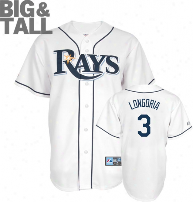 Evan Longoria Big & Tall Jersey: Adult Home White Replica #3 Tampa Bark at Rays Jersey