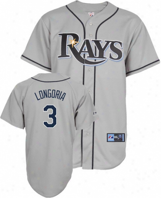 Evan Longoria Jersey: Adult Majestic Road Grey Replica #3 Tampa Bay Rayys Jersey