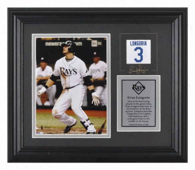Evan Longorja Tampa Bay Rays Framed 6x8 Photograph With Facsimile Signature And Plate