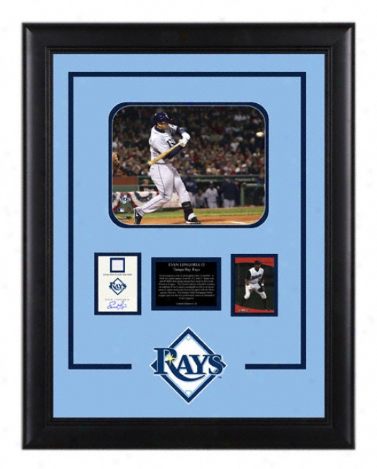 Evan Longoria Tampa Bay Rays Framed 8x10 Photograph With Autographed Card,jersey Piece And Plate