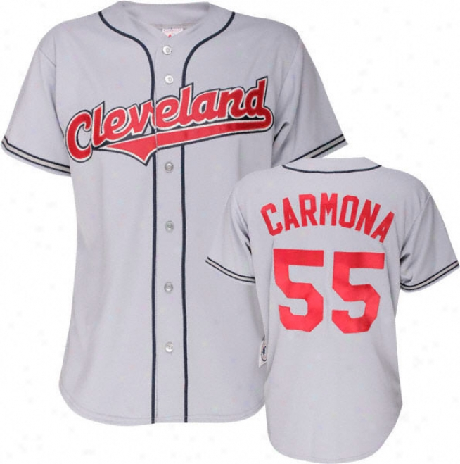 Fausto Carmona Majestic Mlb Road Grey Replica Cleveland Indians Jersey
