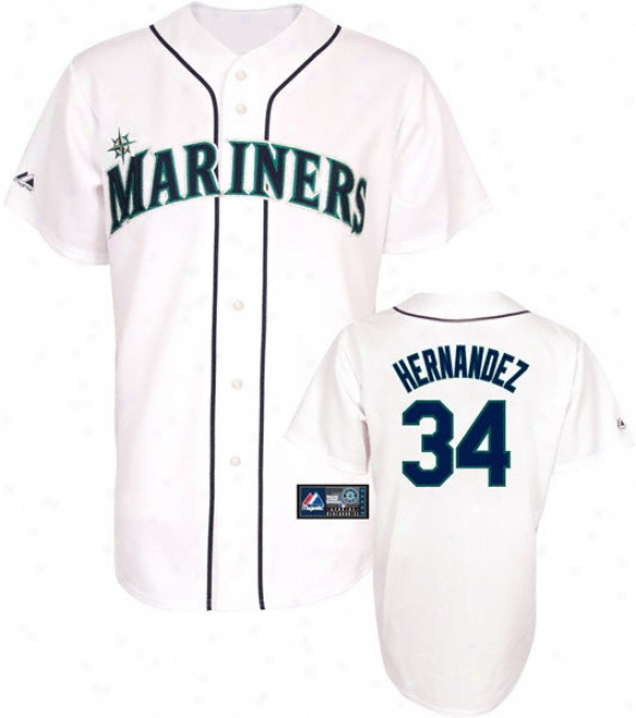 Felix Hernandez Jersey: Adult Majestic Home White Replica #34 Seattle Mariners Jersey