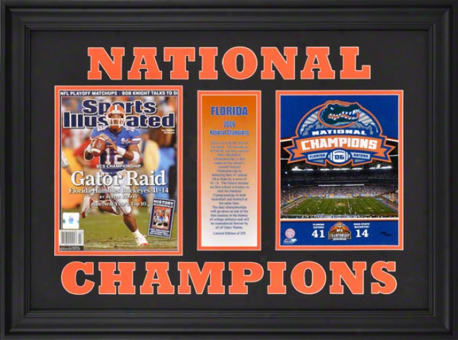 Florida Gators - 2006 Football National Champions - Fraemd Sports Illustrated Collectible Magazine With 8x10 Photograph