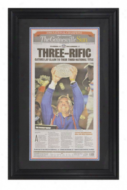 Florida Gators 2008 Bcs Champions Framed Gainesville Sun 1/9/2009 Front Page