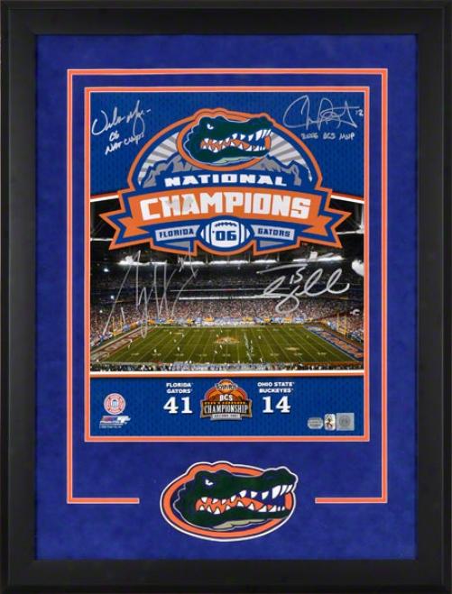 Florida Gators Framed 16x20 Autographed Photograph  Details: Multi-signed, Meyer, Harvin, Leak, Tebow