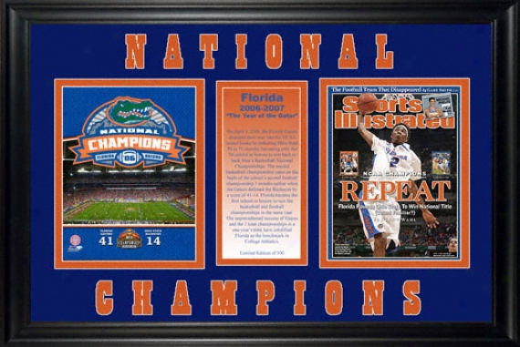 Florida Gators Framed 2007 Ncaa Basketball Champs Sports Illustrated Cover With Football Champs Photograph