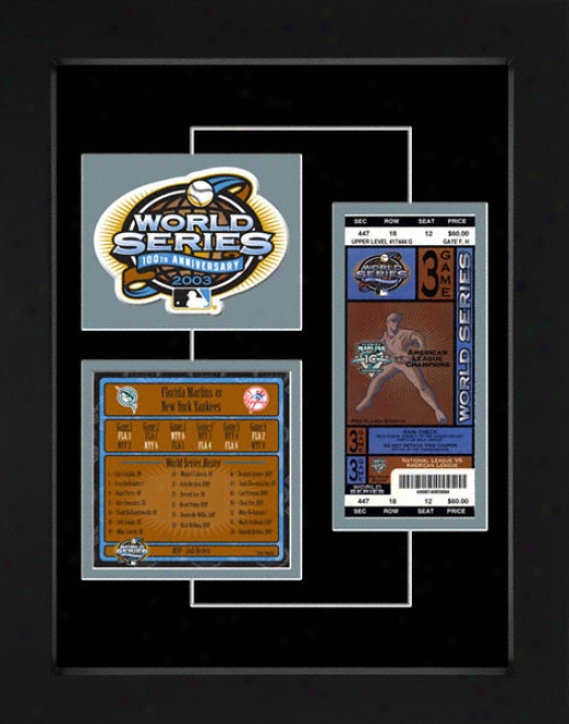 Florida Marlins 2003 World Series Replica Ticket & Patch Frame