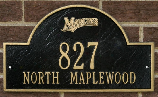Florida Marlins Black And Gold Personalized Address Wall Plaque