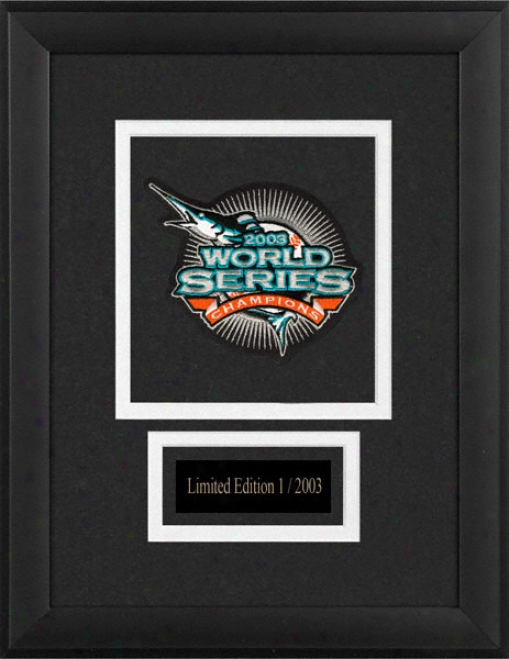 Florida Marlins Framed 2003 World Series Tract Emblem With Engraved Nameplate
