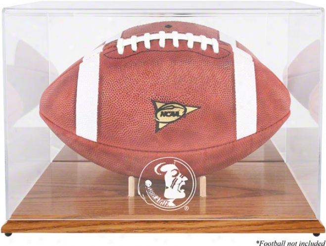 Florida State Seminoles Team Logo Football Display Case  Details: Oak Base