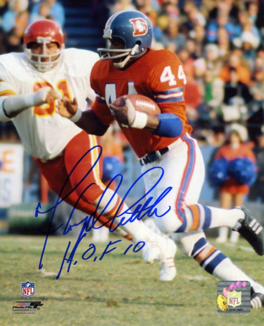 Floyd Little Auyographed Photograpb  Details: Denver Broncos, 8x10, Hof 10 Inscription