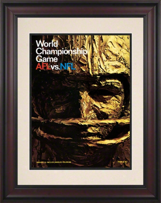 Framed 10.5 X 14 Super Bowl I Program Print  Details: 1967, Packers Vs Chiefs