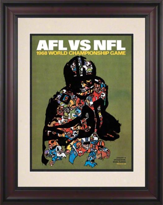 Framed 10.5 X 14 Super Bowl Ii Program Print  Details: 1968, Packers Ve Raiders