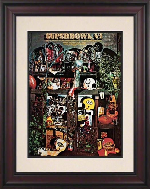Framed 10.5 X 14 Super Bowl Vi Program Print  Details: 1972, Cowboys Vs Dolphins
