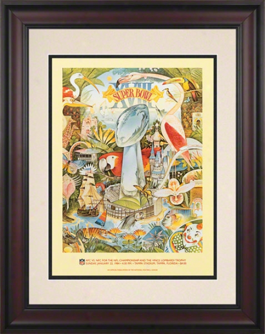 Framed 10.5 X 14 Super Bowl Vxiii Program Print  Details: 1984,-Raiders Vs Redskins