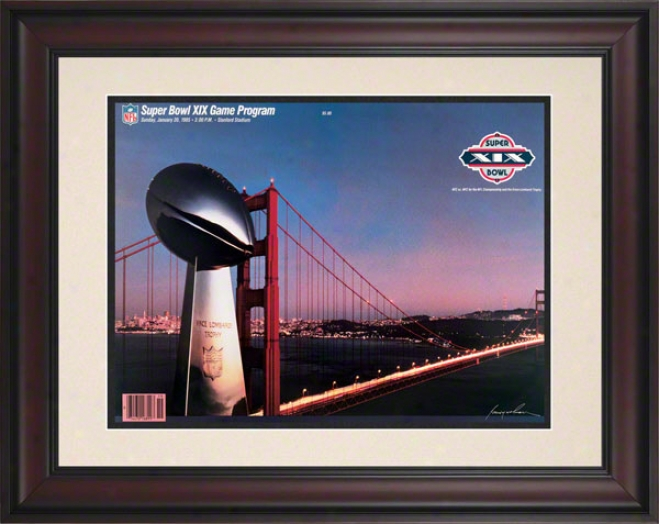 Framed 10.5 X 14 Super Bowl Xix Program Print  Details: 1985, 49ers Vs Dolphins