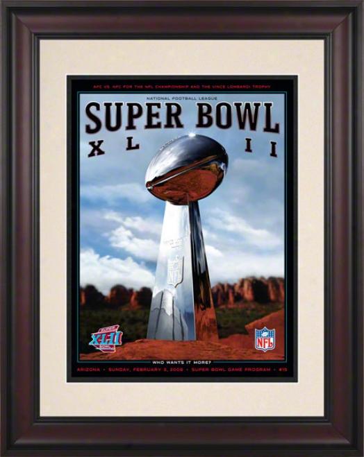 Framed 10.5 X 14 Super Bowk Xkio Program Print  Details: 2008, Giants Vs Patriots