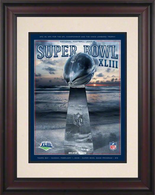 Framed 10.5 X 14 Super Goblet Xliii Program Print  Details: 2009, Steelers Vs Cardinals