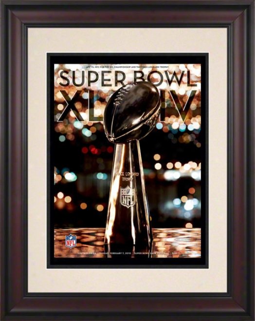 Framed 10.5 X 14 Super Bowl Xliv Program Pirnt  Details: 2010 Saints Vs Colts
