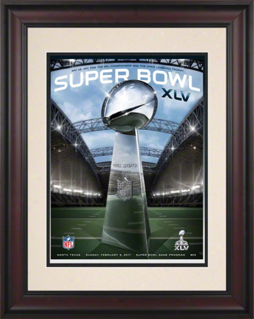 Framed 10.5 X 14 Super Bowl Xlv Program Calico  Details: 2011, Packers Vs Steelers