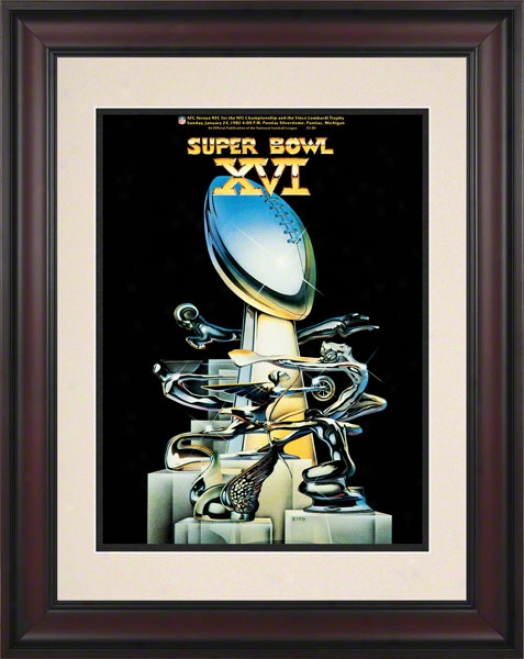 Framed 10.5 X 14 Super Bowl Xvi Program Print  Details: 1982, 49ers Vs Begals