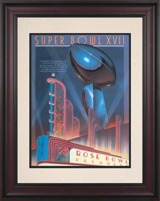 Framed 10.5 X 14 Super Bowl Xvii Program Print  Details: 1983, Redskins Vs Dolphins