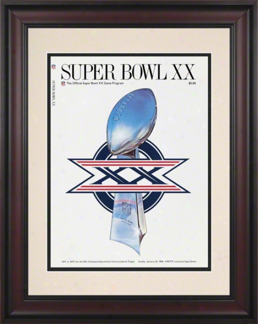 Framed 10.5 X 14 Super Bowl Xx Program Print  Details: 1986, Bears Vs Patriots