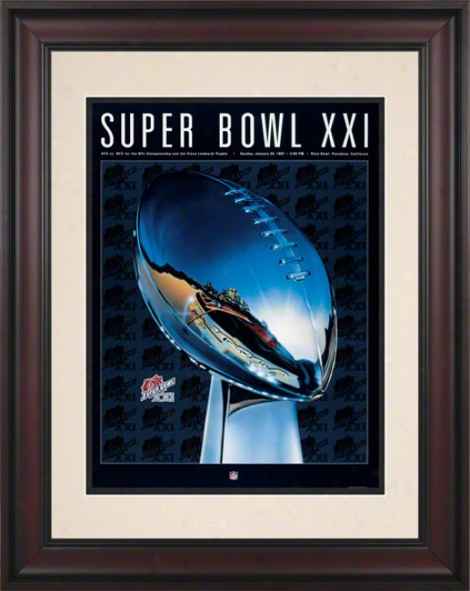 Framed 19.5 X 14 Super Bowl Xxi Program Print  Details: 1987, Giants Vs Broncos