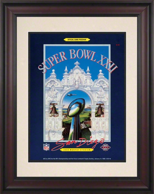 Framed 10.5 X 14 Super Boql Xxii Program Impress  Detaild: 1988, Redskins Vs Broncos