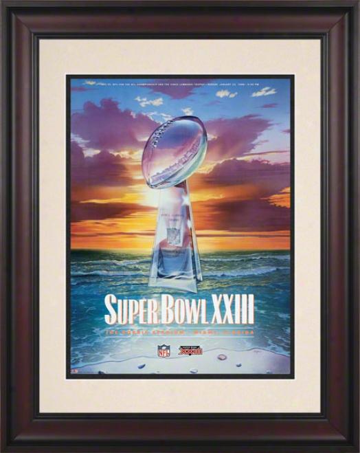 Framed 10.5 X 14 Super Bowl Xxiii Program Print  Details: 1989, 49ers Vs Bengals