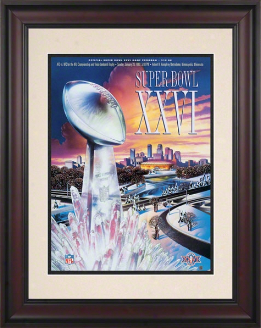 Framed 10.5 X 14 Super Bowl Xxvi Program Print  Details: 1992, Redskins Vs Bills